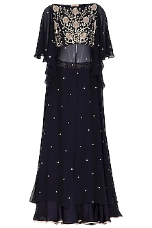 Midnight Blue Embroidered Blouse With Skirt by Seema Thukral