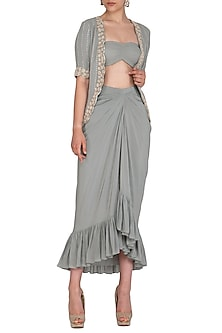 Pebble Green Draped Skirt With Blouse & Embroidered Jacket by Seema Thukral