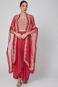 Red Hand Embroidered Draped Skirt Set by Seema Thukral-POPULAR PRODUCTS AT STORE