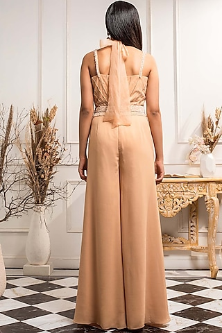Beige Embroidered Jumpsuit With Belt by Seema Thukral