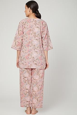 Pink & White Printed Nightwear Set by Stitch