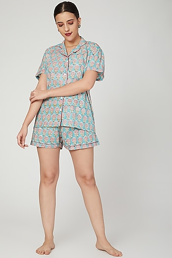 Turquoise Printed Nightwear Set by Stitch
