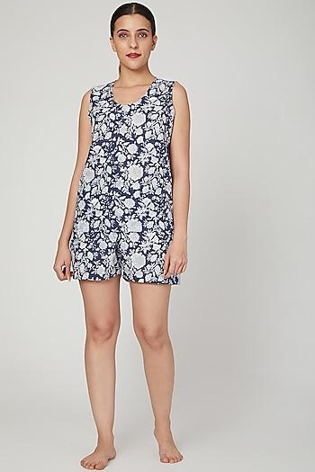 Blue & White Floral Printed Nightwear Set by Stitch