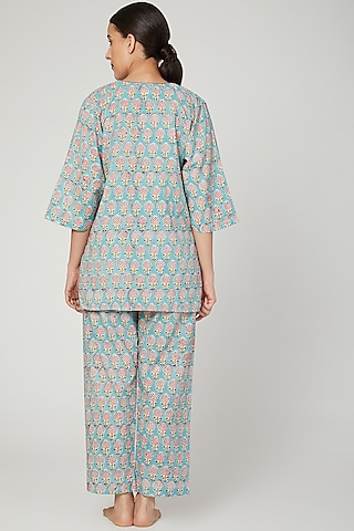 Turquoise Printed Nightwear Set by Stitch