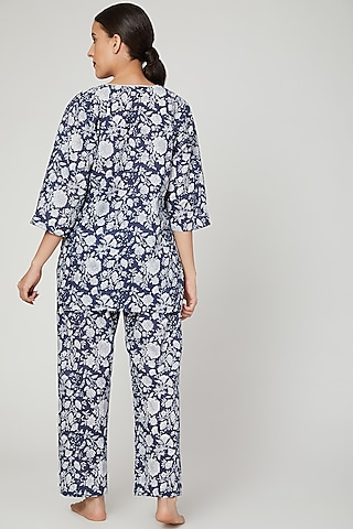 Blue & White Printed Nightwear Set by Stitch