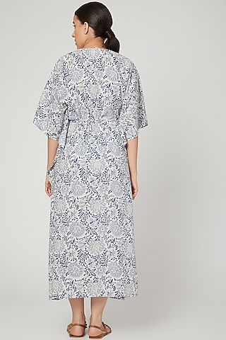 Blue & White Printed Kaftan With Drawstring by Stitch