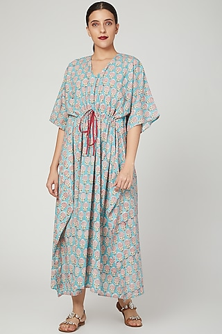 Turquoise Printed Kaftan With Drawstring by Stitch