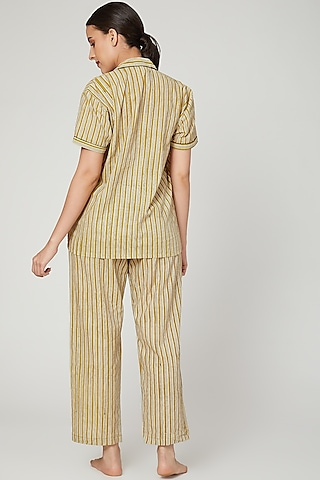 Mustard Printed Nightwear Set by Stitch