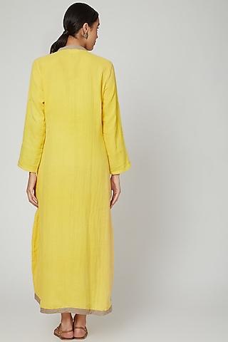 Yellow Dyed Cotton Kaftan by Stitch