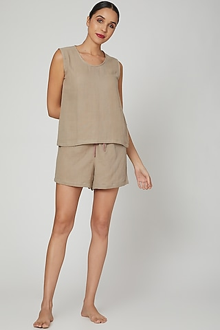 Moss Green Top With Shorts by Stitch