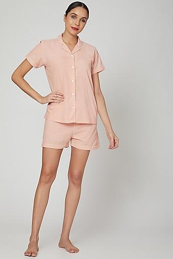 Blush Pink Shirt With Shorts by Stitch