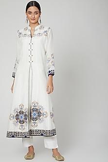 White Embroidered Anarkali Set by Sunita Nagi