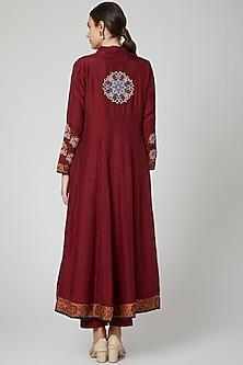 Maroon Floral Embroidered Anarkali Set by Sunita Nagi