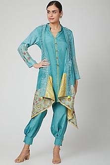 Blue Kurta Set With Embroidered Jacket by Sunita Nagi-POPULAR PRODUCTS AT STORE