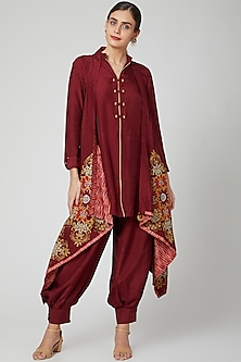 Maroon Embroidered Kurta Set With Embroidered Jacket by Sunita Nagi-POPULAR PRODUCTS AT STORE