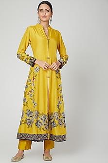 Yellow Embroidered Anarkali Set by Sunita Nagi