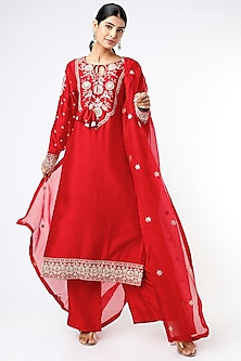 Red Hand Embroidered Kurta Set by Stotram-POPULAR PRODUCTS AT STORE