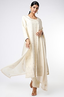 Ivory Embroidered Kurta Set by Stotram-POPULAR PRODUCTS AT STORE