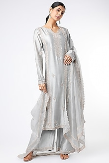 Grey Hand Embroidered Kurta Set by Stotram-POPULAR PRODUCTS AT STORE