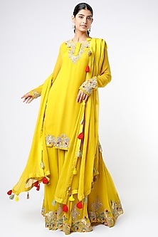 Yellow Hand Embroidered Kurta Set by Stotram-POPULAR PRODUCTS AT STORE