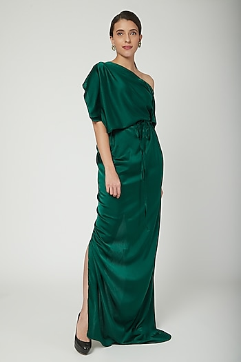 Olive Green One Shoulder Dress With Belt by Stephany