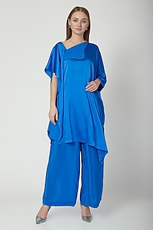 Cobalt Blue Off-Shoulder Top With Trousers by Stephany