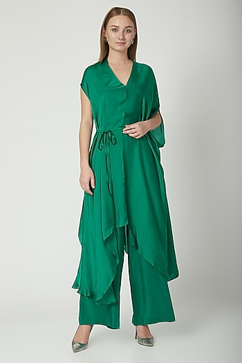 Green Draped Tunic With Trousers & Belt by Stephany
