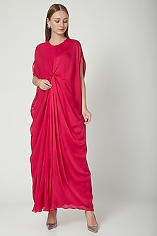 Fuchsia Front Knotted Dress With Attached Slip by Stephany