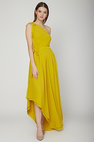 Mustard Yellow Dress With Tie-Up by Stephany