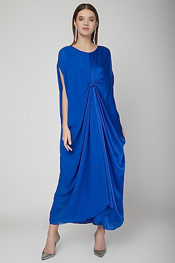 Cobalt Blue Knoted Dress With Attached Slip by Stephany