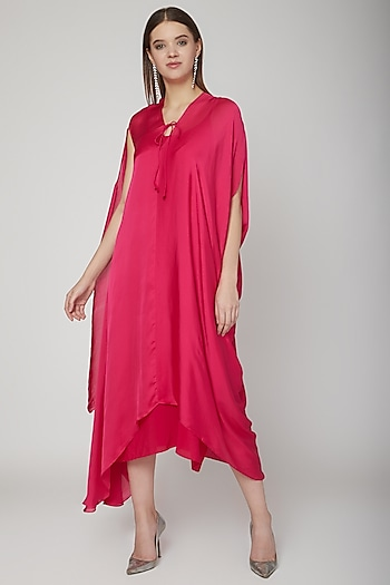 Fuchsia Tie-Up Dress With Slip by Stephany