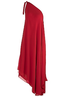 Red One Shoulder Tie-Up Dress by Stephany