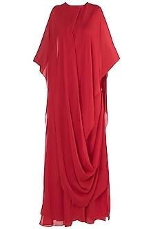 Red Slim Cut Maxi Dress by Stephany