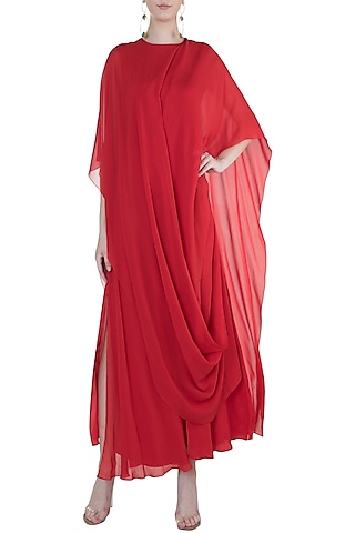 Red Slim Cut Maxi Dress by Stephany