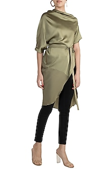 Khadi Green Deconstructed Top With Belt by Stephany