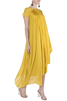 Mustard One Shoulder Style Dress with Inner by Stephany