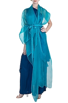 Midnight Blue One Shoulder Tunic With Trouser Pants, Turquoise Cover Up & Belt by Stephany
