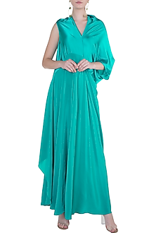 Teal Deconstructed Bias Cut Flowy Dress by Stephany