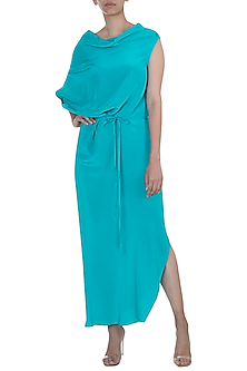 Teal Deconstructed Dress With Belt by Stephany