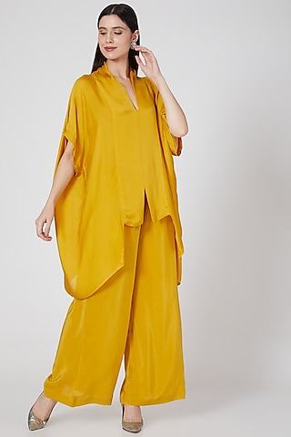 Gold Silk Crepe Trousers Set by Stephany