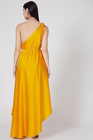 Pumpkin Orange One Shoulder Dress With Belt by Stephany
