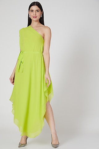 Lime Layered One Shoulder Dress With Belt by Stephany