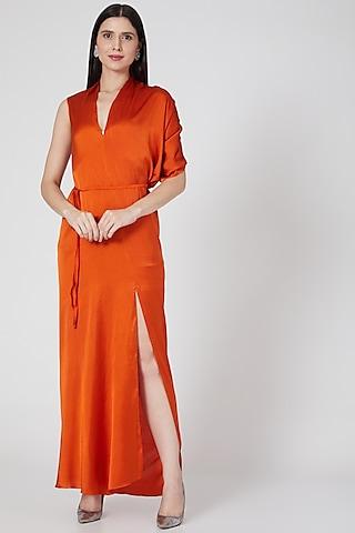 Copper Silk Lycra Satin Dress With Belt by Stephany