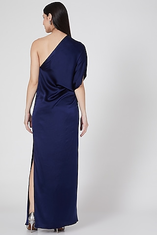 Navy Blue One Shoulder Dress by Stephany