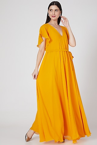 Pumpkin Orange Maxi Dress by Stephany