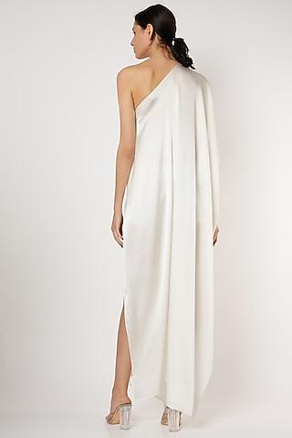 White One Shoulder Wrap Dress by Stephany