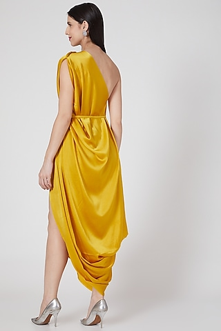 Gold One Shoulder Pleated Dress by Stephany