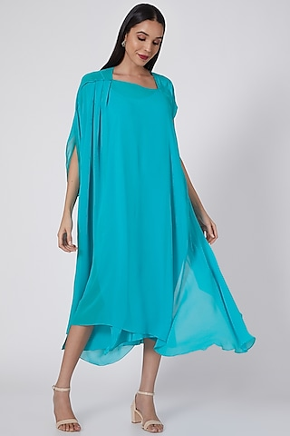 Turquoise One Shoulder Dress With Slip by Stephany
