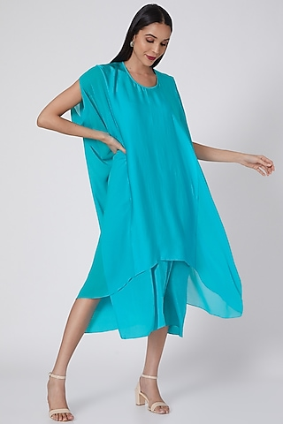 Turquoise Front Panelled Tunic Dress With Slip by Stephany