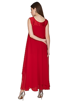Red Sleeveless Dress With Slip by Stephany